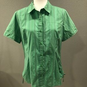 North Face Green Striped Short Sleeve Button Up XL